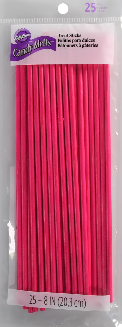 Wilton 8in Pink Treat Sticks 25ct