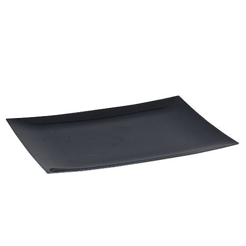 Lillian 9 X 6-7/8 Inch Rectangular Plastic Plates, 10 Count, Black