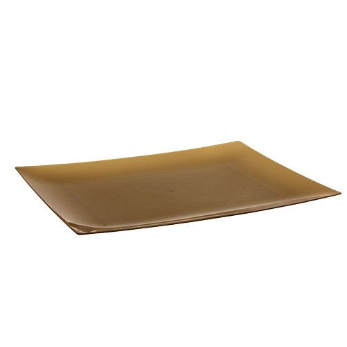 Lillian Tablesettings 10-Count Rectangular Plastic Plates, 9 by 6-7/8-Inch, Gold