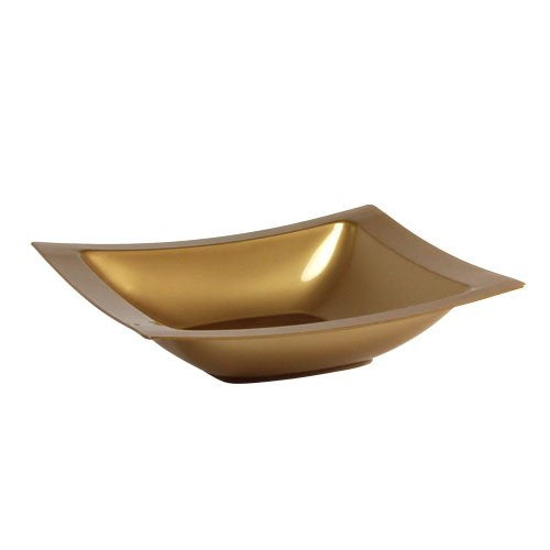 Lillian Tablesettings 10-Count Rectangular Plastic Bowls, 5-Ounce, Gold