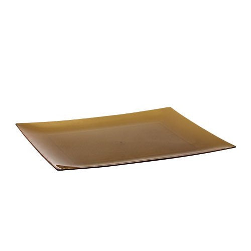 Lillian Tablesettings 10 Count Rectangular Plastic Plates, 7 by 5-5/8-Inch, Gold