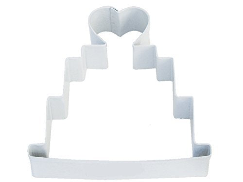 R&M Wedding Cake 4 Cookie Cutter White With Colored, Durable, Baked-on Polyresin Finish by CybrTrayd