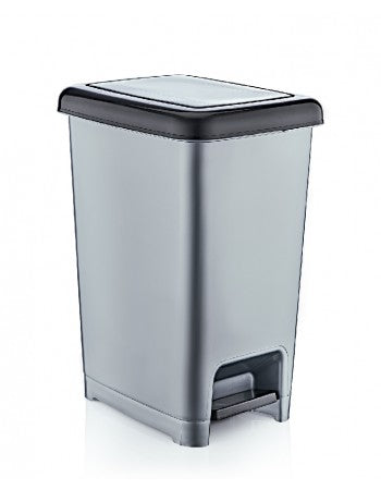 Superio Slim Pedal Trash Can, 42 Qt. (Grey)