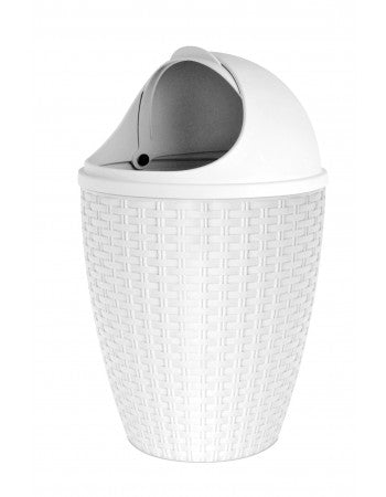 Superio 7.5 Qt Round Roll up Trash Can (White)