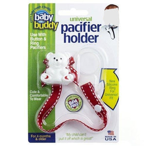 Baby Buddy Universal Pacifier Holder, Red with White Stitch