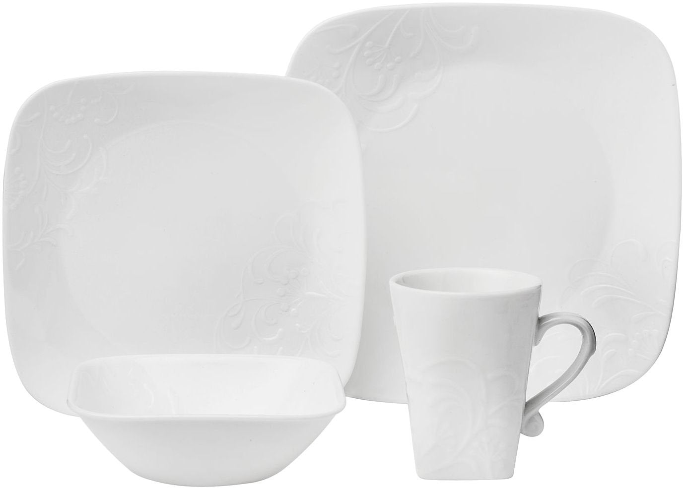 Corelle Boutique Cherish Embossed Square 16-Piece Dinnerware Set, Service for 4