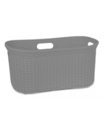 Superio Laundry Basket, Palm Luxe Collection 1.4 Bushel (Gray)