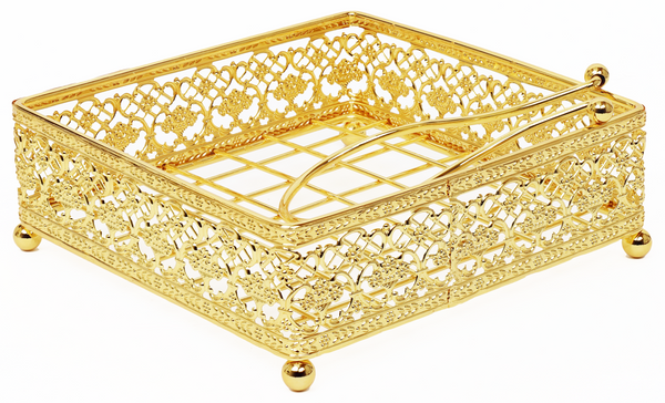 Napkin Holder Flat Wire style with Weighted arm Gold Plated 7.5