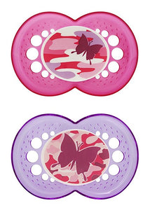 MAM Camo Orthodontic Pacifier, Girl, 16+ Months, 2-Count