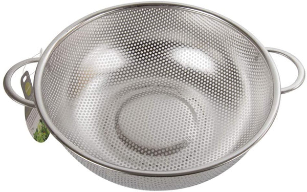 Luciano Housewares Stainless Steel Perforated Colander with Two Handles, 10 x 3.5 inches, Silver
