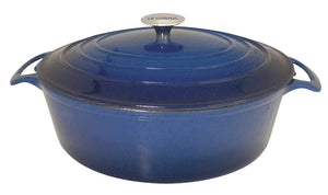 Le Cuistot Vieille France Enameled Cast-Iron 8.5 Quart Oval Dutch Oven - 2 Tone Blue