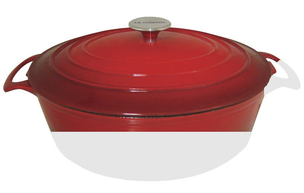 Le Cuistot Vieille France Enameled Cast-Iron 5.5 Quart Oval Dutch Oven - 2 Tone Red
