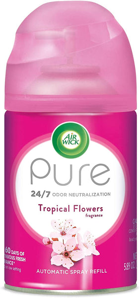 Air Wick Pure Freshmatic Refill Automatic Spray, Tropical Flowers, 5.89oz, Air Freshener, Essential Oil, Odor Neutralization