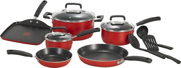 T-fal C112SC Signature Nonstick  Dishwasher Safe Cookware Set, 12-Piece, Red