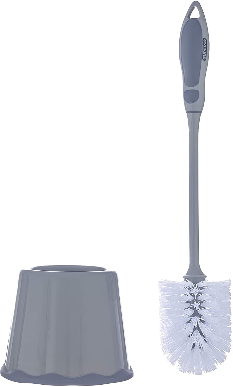 Superio Toilet Brush and Holder Grey