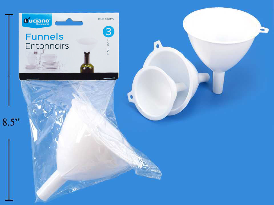 3-Piece Plastic Funnel Set, White