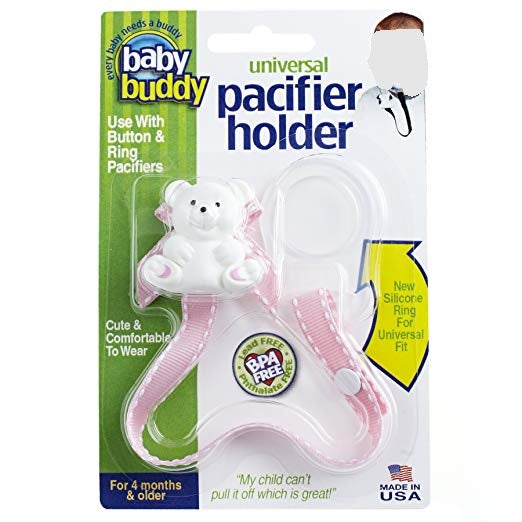 Baby Buddy Universal Pacifier Holder, Pink with White Stitch