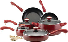 Load image into Gallery viewer, Paula Deen Signature Nonstick Cookware Pots and Pans Set, 15 Piece, Red