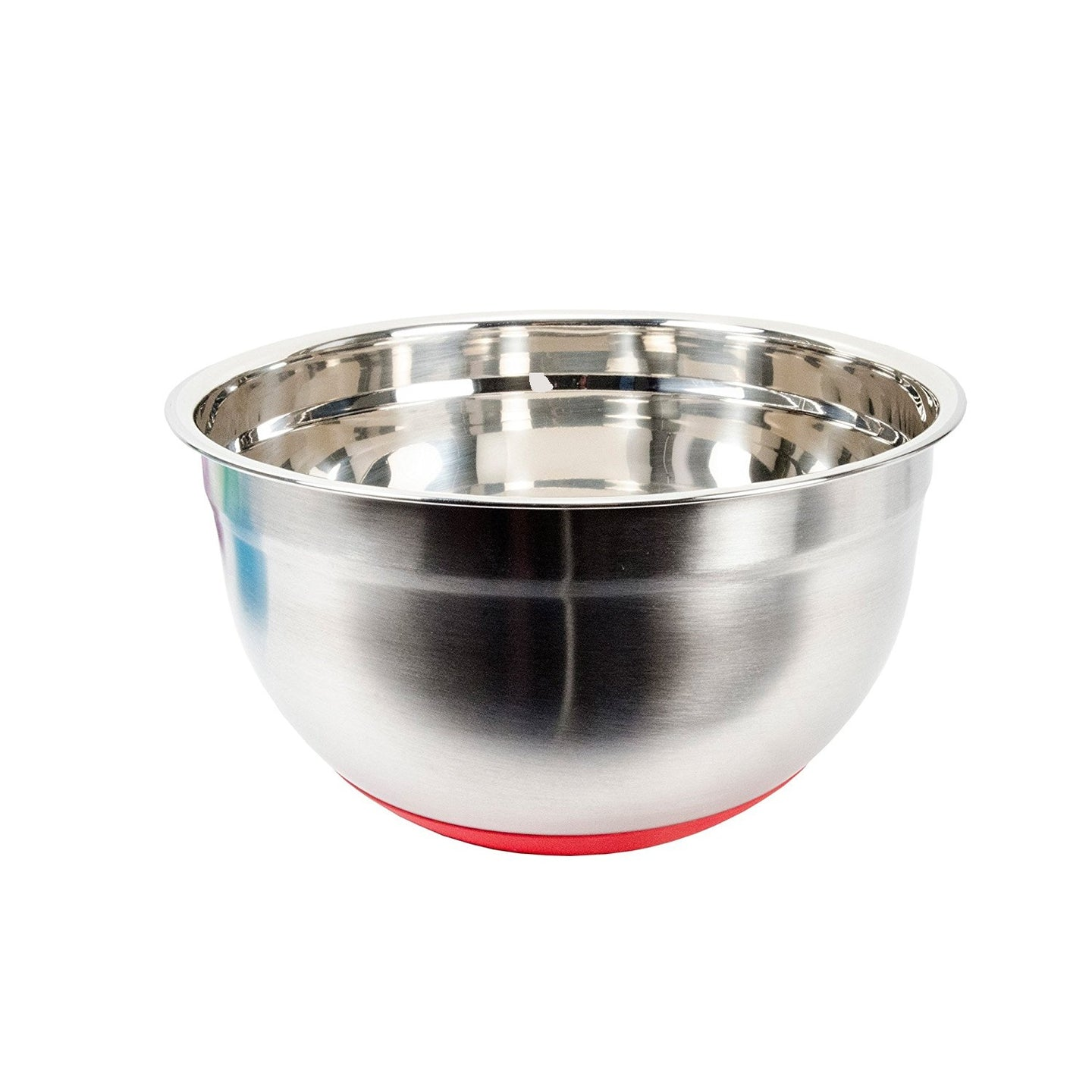 Luciano, Gourmet Mixing Bowl with Silicone Bottom, 10.25 inches, Silver, Red