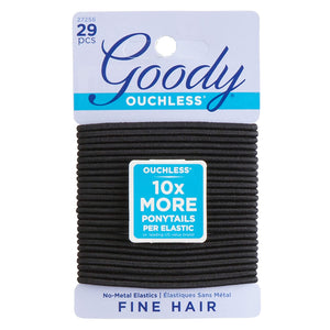 Goody Ouchless 2 mm Elastics, Black, 29 Count