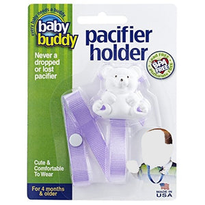 Baby Buddy Bear Pacifier Holder, Lilac