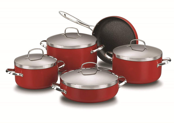 KORKMAZ COOKWARE SET (ZETA PLUS 9 PIECE, Red)
