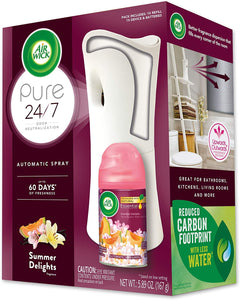 Air Wick Pure Freshmatic Automatic Spray Starter Kit (Gadget + 1 Refill), Summer Delights, Air Freshener, Essential Oil, Odor Neutralization