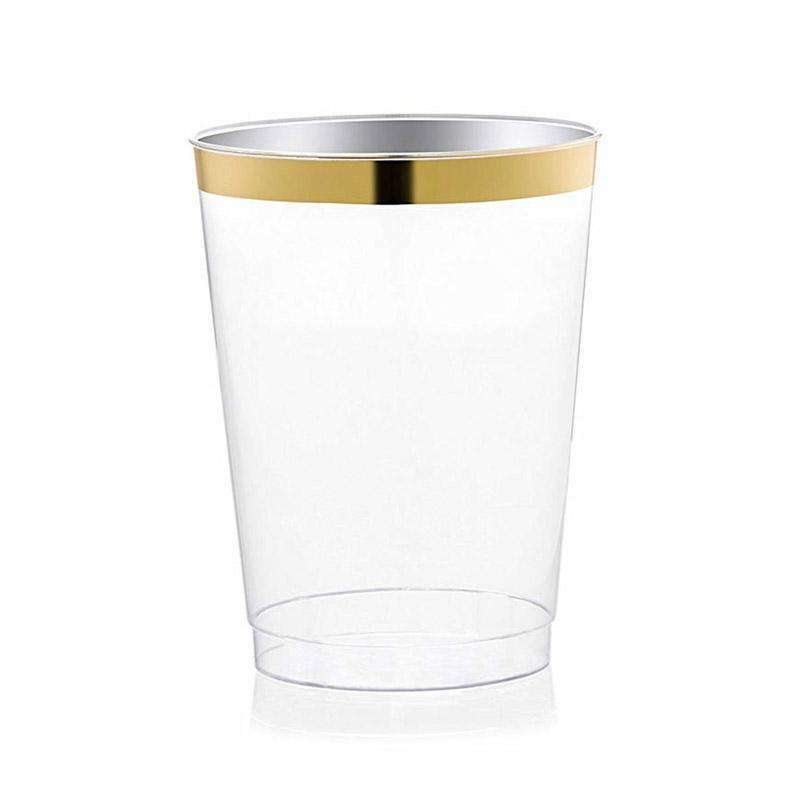 10 OZ. CLEAR WITH GOLD RIM ROUND DISPOSABLE PLASTIC TUMBLERS