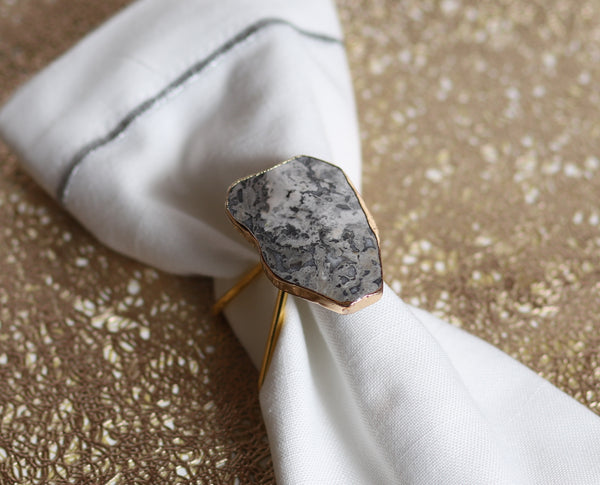 Marble Gray and Gold Napkin Ring