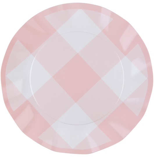 PINK GINGHAM WAVY PAPER DINNER PLATE/8PK