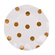 Load image into Gallery viewer, GOLD POLKA DOT PAPER SALAD PLATES/10PK