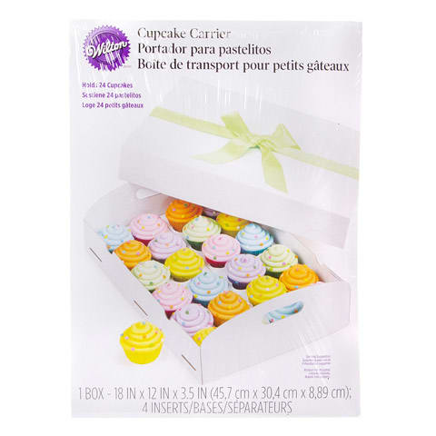 Wilton Folding Tray Cupcake Carrier Box White Holds 24 Cupcakes