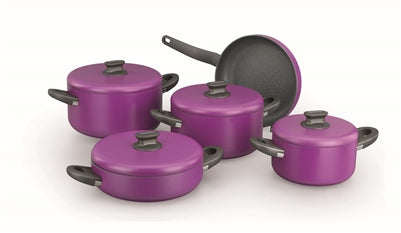 KORKMAZ LINA PLUS 9 PIECE VIOLET COOKWARE SET