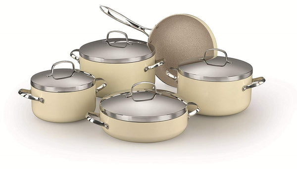 KORKMAZ ZETA PLUS 9 PIECE BEIGE COOKWARE SET