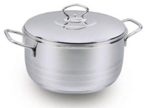 KORKMAZ ASTRA STAINLESS STEEL CAPSULATED STOCKPOT WITH LID , HIGH POLISH FINISH 3 QUART