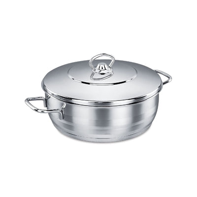 KORKMAZ ASTRA STAINLESS STEEL CAPSULATED LOW CASSEROLE WITH STAINLESS STEEL LIDS, ASTRA 9.5