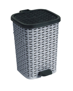 6.8-Gal. Rattan Compact Trash Bin Color: Grey and Black