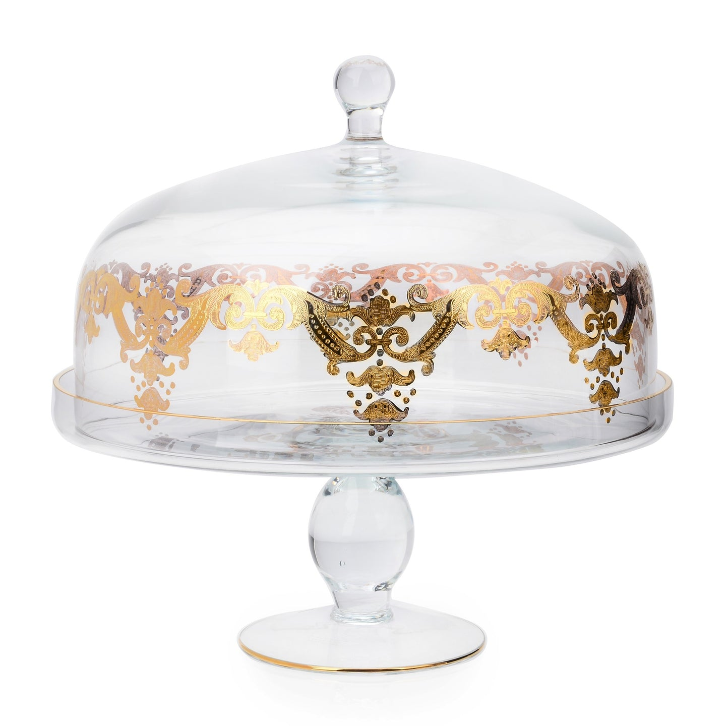 Classic Touch Decor Cake Dome Stand with 24k Gold Artwork