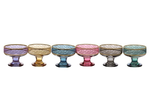 Set of 6 Assorted Colored Dessert bowls with Gold Design