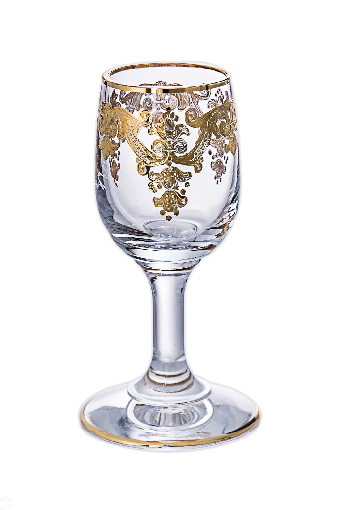 Set of 6 Liquer Glasses with 24K Gold Artwork