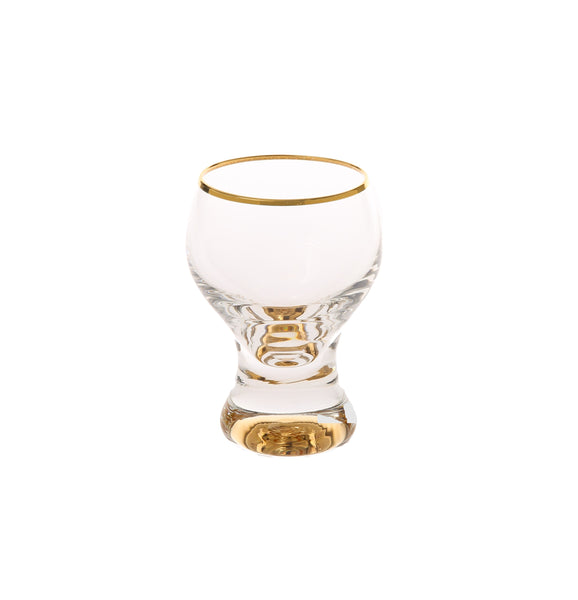 Set Of 6 Liquor Glasses With Gold Stem And Rim