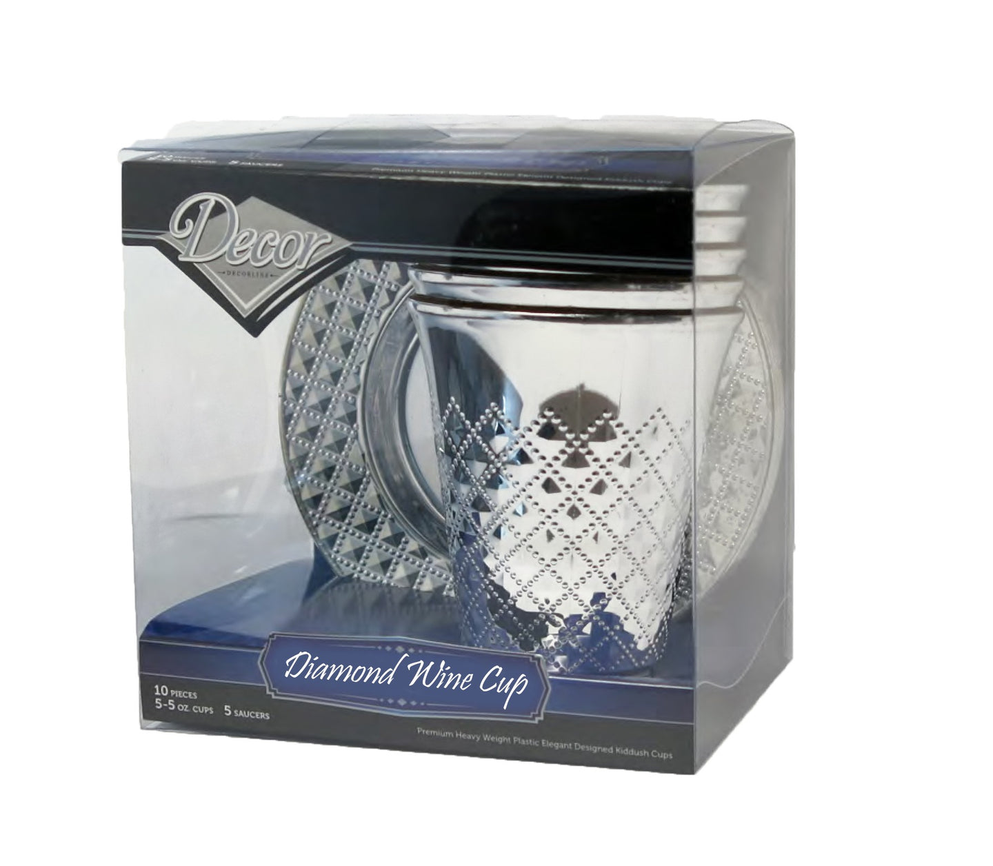 Diamond - Elegant Disposable silver wine cups 150ml and saucers 10pcs