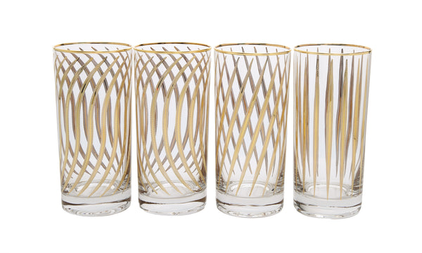 Set of 4 Mix and Match Water Tumblers with 24k Gold Design
