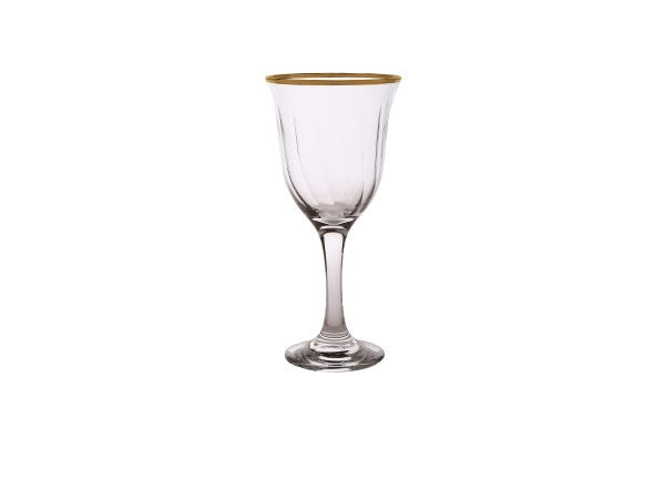 Set of 6 Water Glasses with Simple Gold Design
