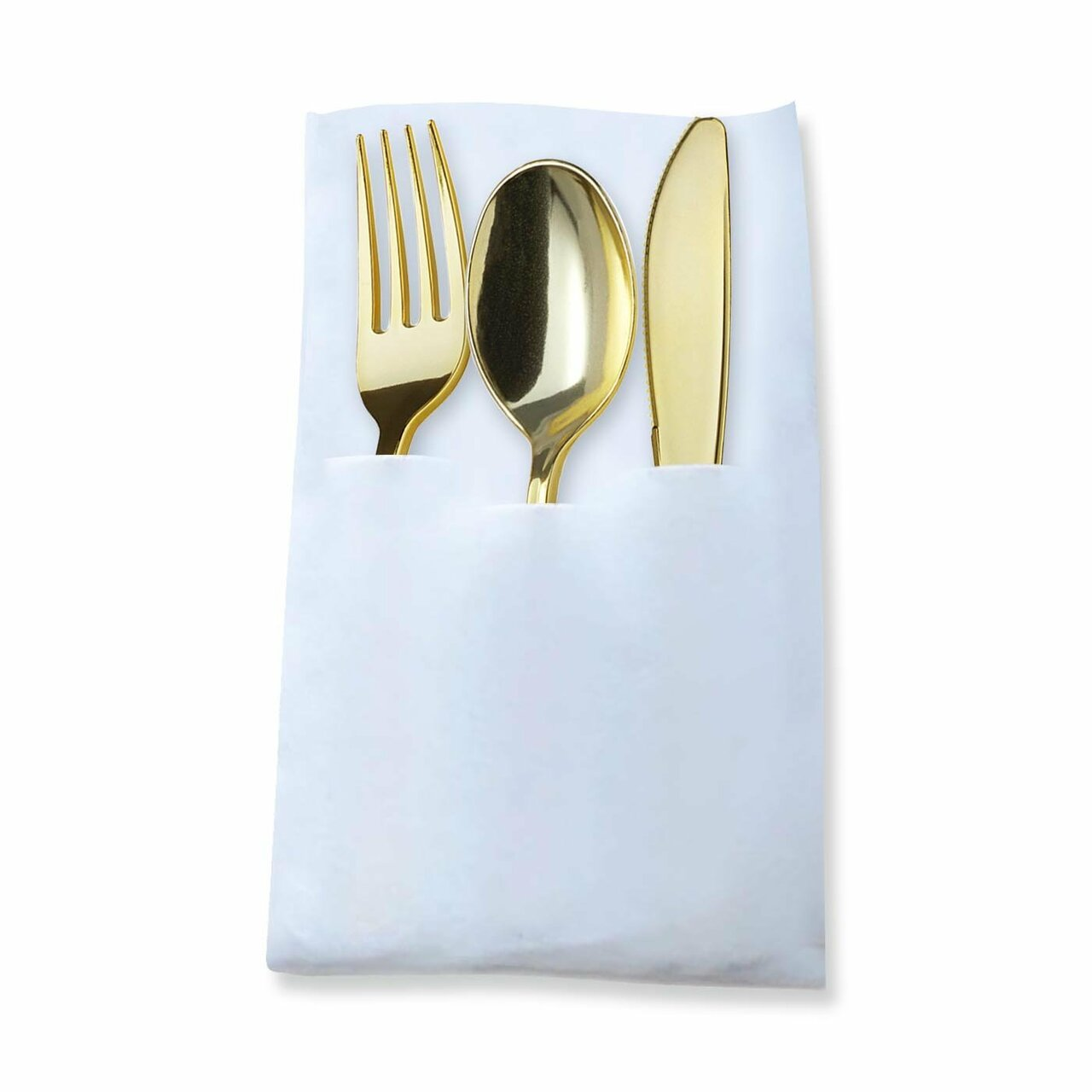 GOLD DISPOSABLE PLASTIC CUTLERY IN WHITE POCKET NAPKIN SET - 7 NAPKINS, 7 FORKS, 7 KNIVES, AND 7 SPOONS