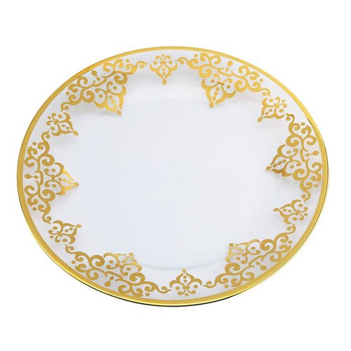Classic Touch Set of 4 Plates with Lacey Gold Design