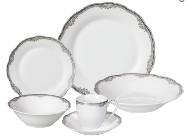 LORREN HOME TRENDS ELIZABETH DESIGN PORCELAIN WAVY EDGE DINNERWARE SET, 24 PIECE SERVICE FOR 4
