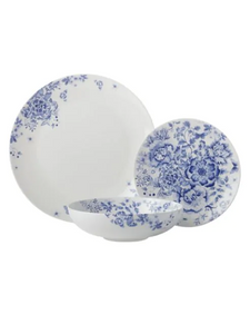 Maxwell & Williams Toile de Fleur Porcelain 12-Piece Coupe Dinnerware Set