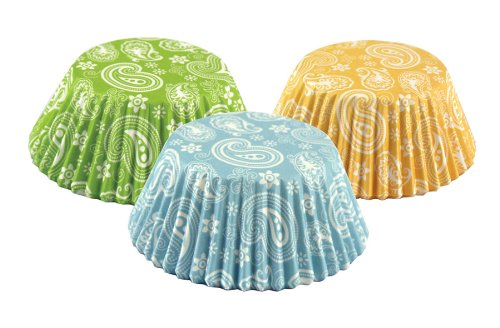 Fox Run Paisley Bake Cup Set, Standard, 75 Cups, Green, Blue & Yellow