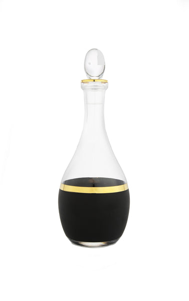 Glass Decanter with Black and Gold Design